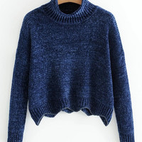 Scalloped Trim Turtleneck Chenille Sweater -SheIn(Sheinside)