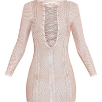Venita Rose Gold Premium Metallic Knit Lace Up Mini Dress