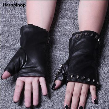 Leather Gloves Lady Genuine Sheepskin Gloves Half Finger Skull head rivet