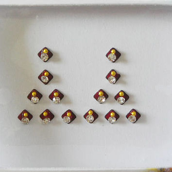 2 Pack-28 Maroon bindi,Small size face decoration bindi,Bridal makeup accessory,Nail art,Faux nose stud,Indian bindi dot,Eyebrow decoration