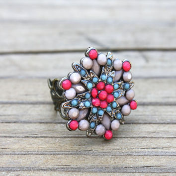 Cranberry, Beige, and Turquoise Beaded Octoganal Star Celtic Bohemian Adjustable Filigree Ring