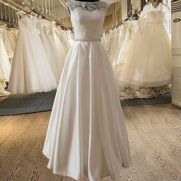 Elegant A-line Sweetheart Lace Bodice | Beaded Belt Wedding Dress