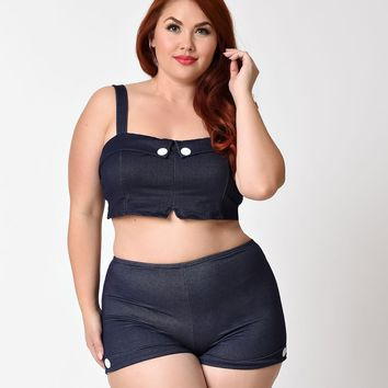 Girl Howdy Plus Size Retro Style Navy Denim Dale Cropped Top