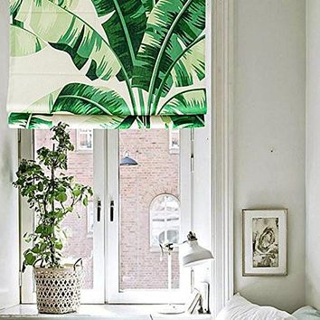Quick Fix Washable Roman Window Shades Flat Fold, Green Banana Leaves B