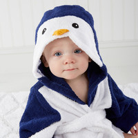 """Wash & Waddle"" Penguin Hooded Spa Robe"