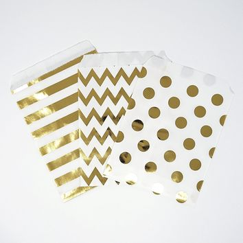Chevron Polka Dot Stripe Gold Foil Paper Treat Favor Bags 5x7 Gift Bags - 48 count