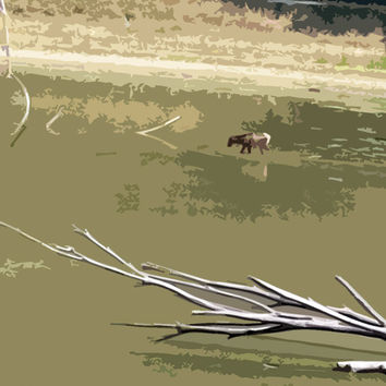 Moose In Lake Acrylic Popart Painting (EXAMPLE - See Me On A Wall)