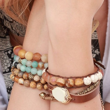 Leather Stack-able Beaded Bracelets ( + Colors )