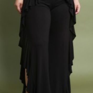 Ruffle Accent Jersey Knit Wide Leg Pants
