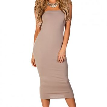 Tara Taupe Bodycon Strapless Midi Tube Dress