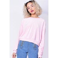 Cakewalk Velour Sweater - Soft Pink