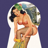 Pin Up Art Brunette Caught In Keyhole Poster