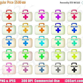 50% OFF Sale First Aid Clipart, First Aid Kit Clip Art, Medicine Bag, Doctor Medical Box, Scrapbooking, Planner Stickers, PNG, Commercial