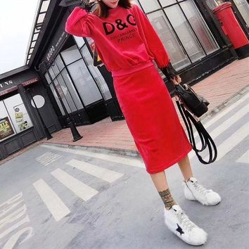 DCCKXT7 D&G' Women Casual Fashion Letter Print Lace Stitching Long Sleeve Sweater Skirt Set Two-Piece