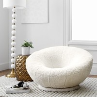 Ivory Sherpa Faux-Fur Groovy Swivel Chair