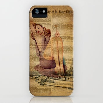 vintage scripts purple dress pin up girl drinking martini paris eiffel tower art iPhone & iPod Case by Chicelegantboutique