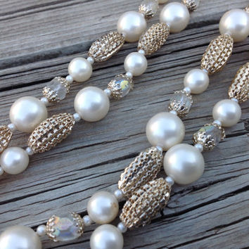 Vintage Pearl Double Strand Necklace with Mesh Beading