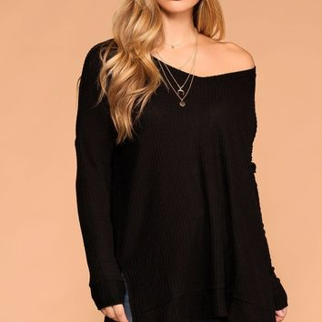 Stay True Black V-Neck Waffle Knit Sweater Top