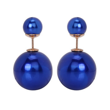 Gum Tee Mise en Style Tribal Earrings - Metallic Royal Blue