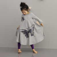 Fashion Baby Girls Kids Long Sleeve Butterfly Print  T-shirt Flared Dress 2-10Y D_L = 1712806020