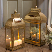 Small Rectangle Glass And Antique Brass Finish Lantern