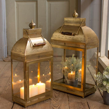 Large Rectangle Glass And Antique Brass Finish Lantern