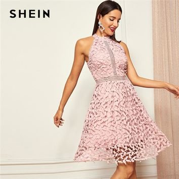 c894bca120 SHEIN Going Out Pink Party Halter Neck Lace Skater Sleeveless Ha