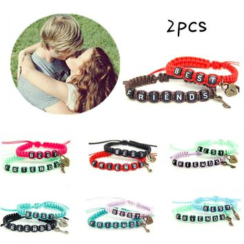 2pcs/pair Couple Bracelets Best Friends With Key Lock Rope Chains Lovers Personalized Gift Handmade Charm Bracelet Accessories