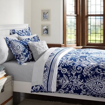 Natalia Duvet Cover + Sham, Royal Navy