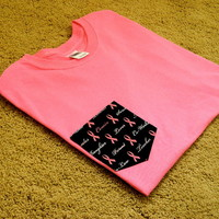 Create No Evil LLC x Clothing CO. — Breast cancer Loop Pocket tee (pink)