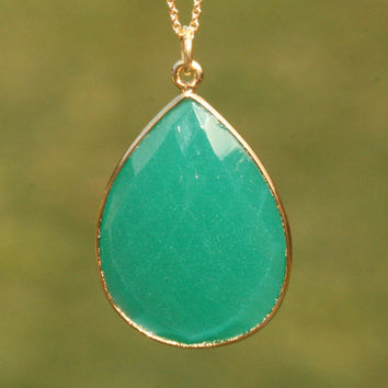 Large Green Onyx Drop Necklace 18 inches w Gold Vermeil n 14k Gold Fill by Maggie McMane Designs