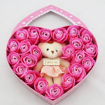Heart-shaped rose soap flowers girlfriend bear valentine's day gift box jewelry creative soap soap flower gift box Pink