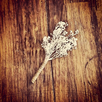 Rustic Twine and Baby's Breath Boutonniers,  Boutonnier, Rustic Boutonnier,  Rustic Wedding