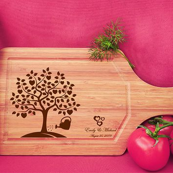 ikb505 Personalized Cutting Board Wood wooden wedding gift anniversary date heart tree