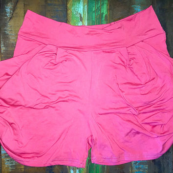 Solid Color Harem Soft Pocket Shorts Coral *FINAL SALE!*
