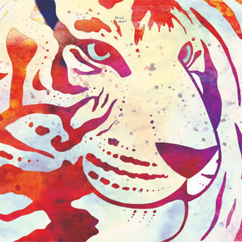 Tiger Watercolour Art Print. LIMITED EDITION Original animal illustration. digital watercolor purple pink modern poster wall artwork