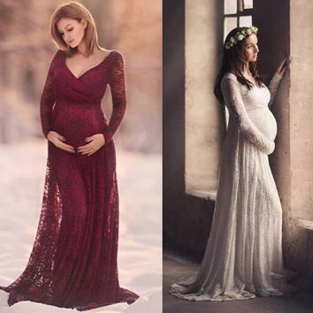 Puseky M-2XL Lace Maternity Dress Photography Prop V-neck Long Sleeve Wedding Party Gown Pregnant Women Elegant Wear Plus Size