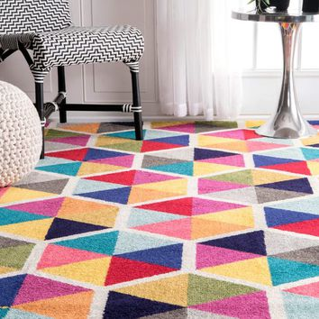 nuLOOM Contemporary Triangle Mosaic Multi Rug (5'x 8') - 5'x 8' | Overstock.com Shopping - The Best Deals on 5x8 - 6x9 Rugs