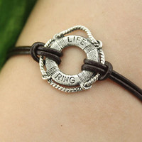 bracelet--life ring bracelet,antique silver charm bracelet, brown leather bracelet,love bracelet