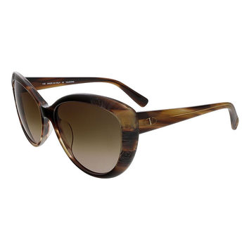 Valentino Beige Horn Cat Eye Valentino Sunglasses