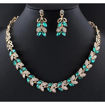 Green Crystal Necklace Earrings Set