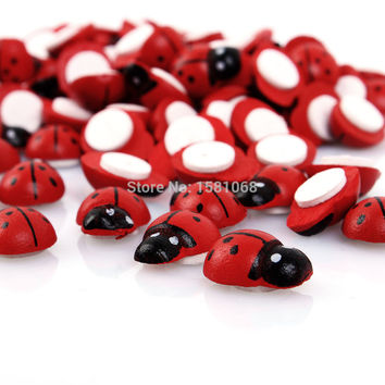 100PCS Baby Toys Wall Stickers Wooden Ladybug Sponge Easter Home Decoration 3D Wall Sticker Scrapbooking Craft red