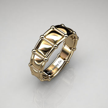 Modern Italian 14K Yellow Gold Infinity Cushion Designer Wedding Band B1021B-14KYG