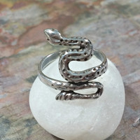 Vintage Snake Ring Sterling Silver Snake Ring Size 6.75 Winding Snake Symbolic for Life Force Rebirth Transformation Healing Eternity