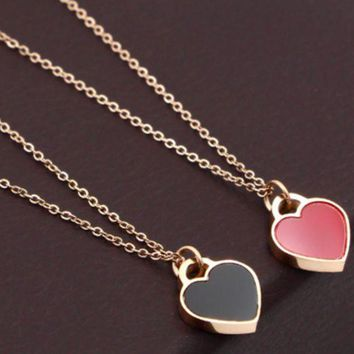 Heart Titanium steel black and red double-sided hearts love necklace, women's fashion accessories not fade the chain.