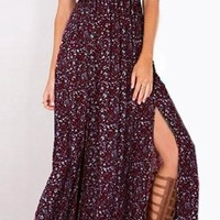 In My Glory Burgundy Wine White Ditsy Floral Smocked Short Sleeve Off The Shoulder Thigh Slit Pleated Casual Maxi Dress