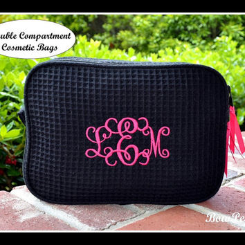 Monogrammed Cosmetic Bag - Personalized DOUBLE COMPARTMENT Waffle Weave bridesmaids makeup case bridal party customized black hot pink