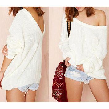 ONETOW DEEP-V BACKLESS Fashion SWEATER