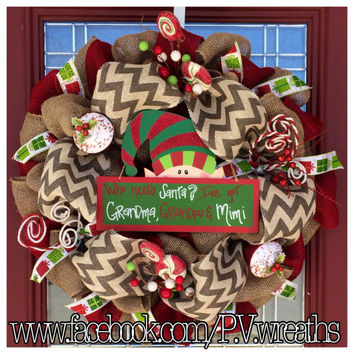 Christmas wreath - Grandma wreath - gift for grandparents - christmas gift - burlap wreath - Christmas decor - holiday wreath - santa sign