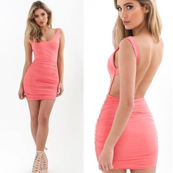 2017 Fashion Sexy Backless Summer Dress Slim Short Pencil Bandage Club Party Dresses Beach Mini Bodycon Hips Up Dress Vestidos